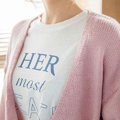 chuu - Crew-Neck Lettering T-Shirt