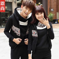 Igsoo - Couple Matching Patterned Fleece Hooded Jacket