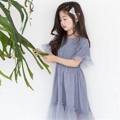 Cuckoo - Kids Short-Sleeve Sheer Panel Dress