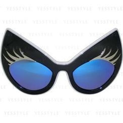 Glam-it! - Super Cat Sunglasses (Black Frame, White Rim, Silver Lashes, Blue Revo Lens)