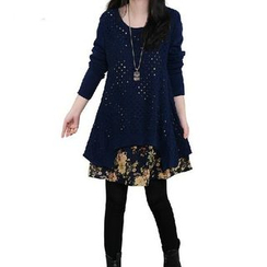 Splashmix - Long-Sleeve Floral Panel Knit Dress