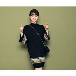 HOTPING - Mock-Neck Pattern-Trim Knit Dress