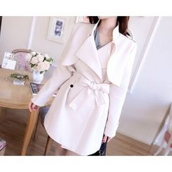 Marlangrouge - Stand-Collar Trench Coat with Sash