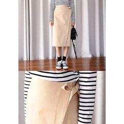 DEEPNY - Tie-Waist Wrap-Front Midi Skirt
