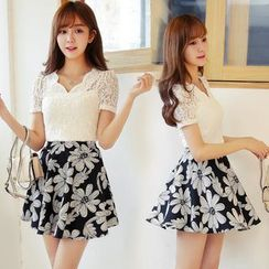 Loverac - Set: Short-Sleeve Lace Top + Skirt