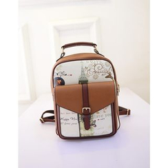 ALIN - Faux-Leather Printed Buckled Backpack