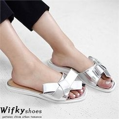 Wifky - Faux-Leather Bow-Detail Mules
