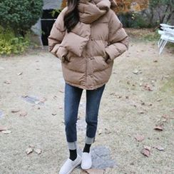 Hello sweety - Hooded Puffer Jacket with Scarf