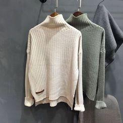 YENSI - Turtleneck Ribbed Knit Top