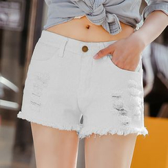 Tonya - Distressed Denim Shorts
