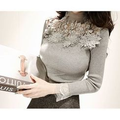 Marlangrouge - Turtle-Neck Lace-Trim Knit Top