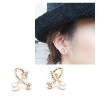 musé - Rosegold Twist Pearl & Bling Earrings