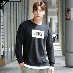 BYMONO - Layered-Hem Lettering Sweatshirt