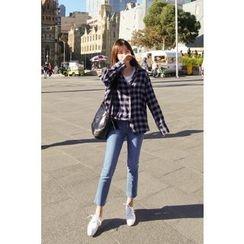 CHERRYKOKO - Wide-Cuff Plaid Shirt