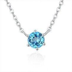 MaBelle - 925純銀藍色半寶石項鍊 16吋