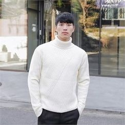 STYLEMAN - Turtle-Neck Rib-Knit Sweater