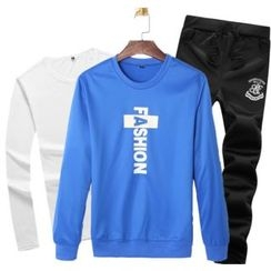 Izme - Set: Long-Sleeve T-Shirt + Lettering Sweatshirt + Sweatpants