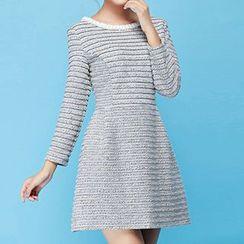 Strawberry Flower - Striped A-Line Dress