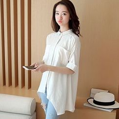 Swish - Elbow-Sleeve Long Blouse