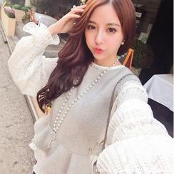 ANGELA - Set: Lace Blouse + Woolen Vest