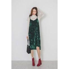 migunstyle - Spaghetti-Strap Velvet Dress