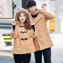 Igsoo - Couple Matching Furry Trim Hooded Jacket / Double-Breasted Coat