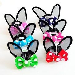 Chapa - Kids Dotted Bowed Ear Accent Hair Tie