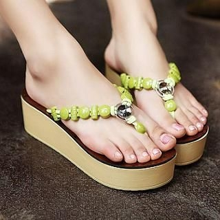 JY Shoes - Beaded Wedge Flip-Flops