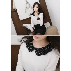 MyFiona - Dotted Collar Slim-Fit Knit Top