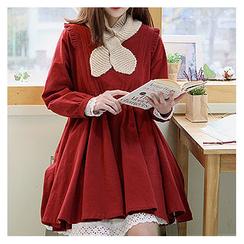 Sechuna - Round-Neck Frill-Trim Mini Dress