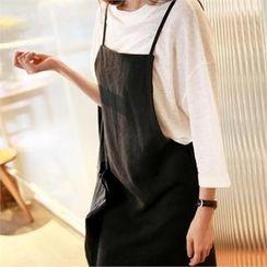 smusal - Slit-Side Linen Long Jumper Skirt