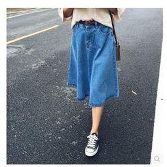 Denim Fever - Washed A-Line Denim Skirt
