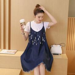 Raison d'etre - 套裝: T恤 + 亮片牛仔吊帶裙