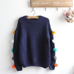 akigogo - 球球裝飾粗織毛衣