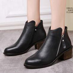 Ammie - Block Heel Leather Short Boots