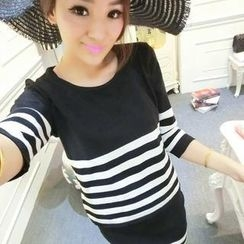 Ando Store - Set: 3/4-Sleeve Striped Knit Top + Skirt