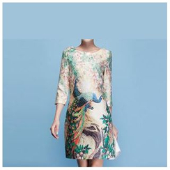 Strawberry Flower - Peacock Print Sheath Dress