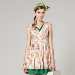 O.SA - Sleeveless Floral Tie-Waist Dress