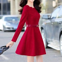 Romantica - Long-Sleeve Jacquard Belted Dress