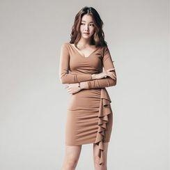 Gl.bY - Long-Sleeve Ruffle Trim Sheath Dress