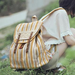 SUPER LOVER - Lace-Trim Striped Backpack