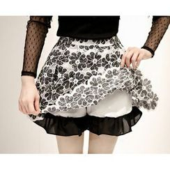 Marlangrouge - Inset Shorts Floral Lace Mini Skirt