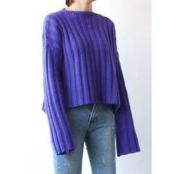 STYLEBYYAM - Wool Blend Drop-Shoulder Ribbed Knit Top