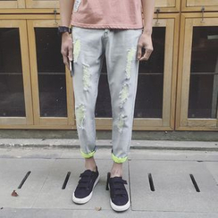 JUN.LEE - Cropped Distressed Jeans