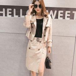 Sheeno - Set: Double-Breasted Jacket + Midi Skirt