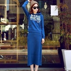 HStyle - Set: Hooded Lettering Pullover + Long Skirt