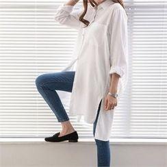 PEPER - Pocket-Detail Slit-Side Long Shirt