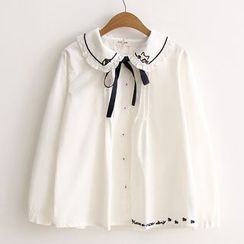 ninna nanna - 蝴蝶結刺繡貓飾領長袖襯衫