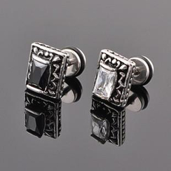Trend Cool - Square Rhinestone Earrings