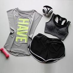AT NINE - 套装: 短袖运动上衣 + 运动文胸 + 运动短裤